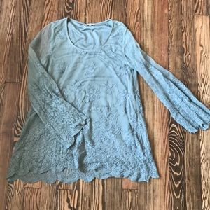 Sage Top with Lace